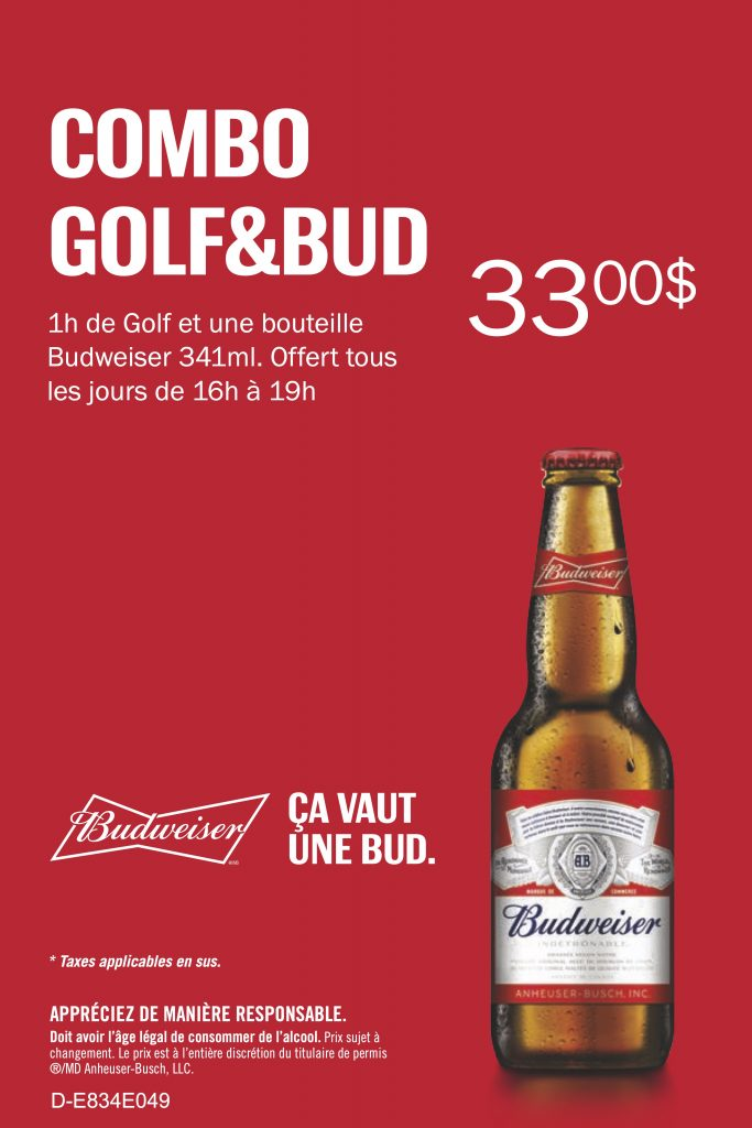 Happy hour Golf & Budweiser @ Golfin Dorion