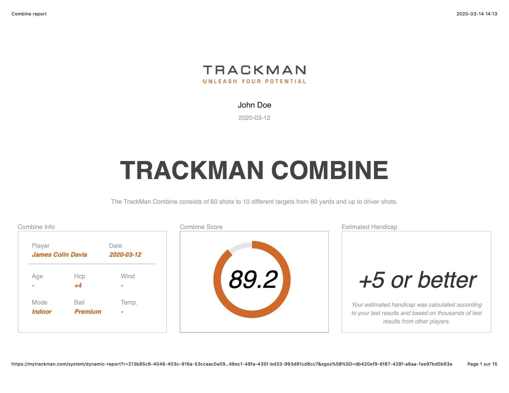 TrackMan Combine Test